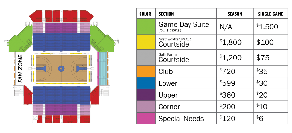 Season Ticket Pricing and Seating Chart